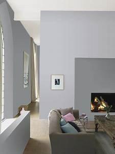 peinture gris souris et gris perle pour deco salon zen With peinture murale gris perle