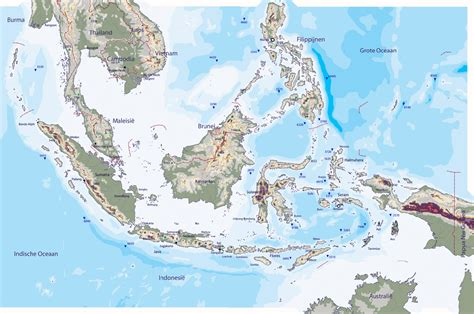 large detailed physical map  indonesia indonesia large