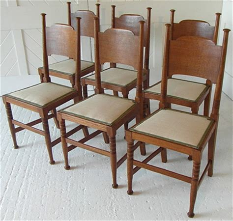 arts crafts set of 6 dining chairs by william birch