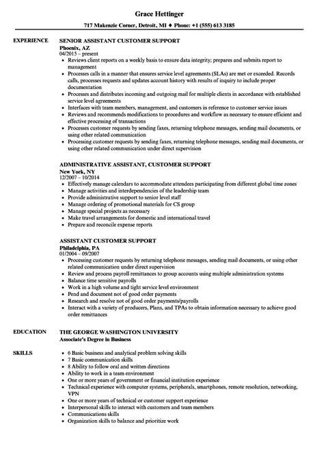 Support Assistant Resume by Assistant Customer Support Resume Sles Velvet