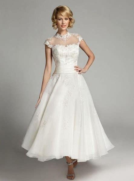 ankle wedding dress a line ankle length organza high slash neck