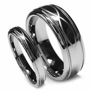 Matching Wedding Band Set Tungsten Rings Infinity Design