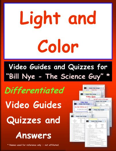 bill nye light and color worksheet for bill nye light and color