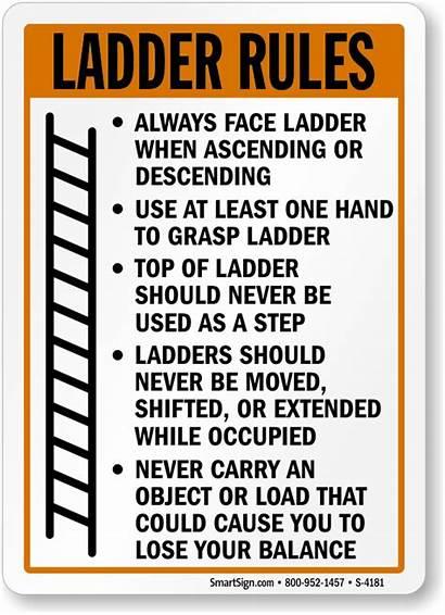 Ladder Safety Rules Sign Signs Warning Ascending