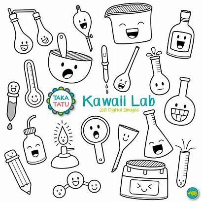 Science Lab Kawaii Clipart Chemistry Drawing Digital