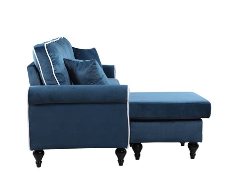 reversible sectional sofa chaise traditional small space blue velvet sectional sofa with