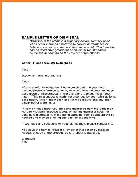 dismissal appeal letter sample appeal letter
