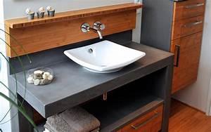 Meubles de salle de bain beton cire atlantic bain for Salle de bain design avec meuble sous vasque bois castorama
