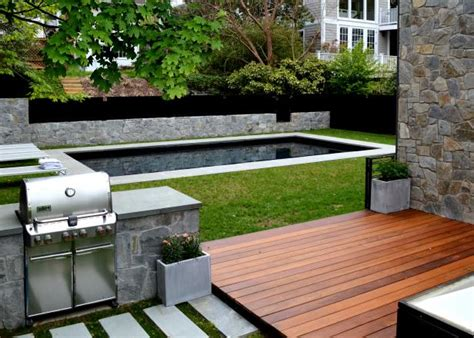contemporary backyard  grill station  swimming pool