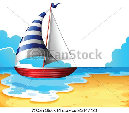 Boat On Beach Drawing by Vector Illustration Of A Boat At The Beach Illustration