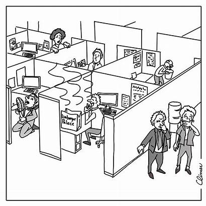 Office Smelly Cubicle Cartoon Cartoons Desk Drawing