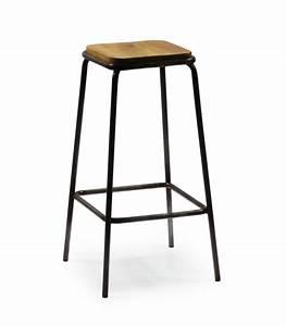 Tabouret De Bar Metal : tabouret de bar carr en m tal noir et bois ~ Teatrodelosmanantiales.com Idées de Décoration