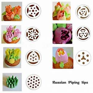 7PCS Russian Large Icing Piping Pastry Nozzles Rose Tulip