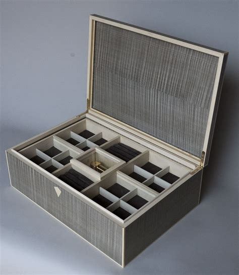 crafted silver curly maple deco jewelry box by heller and heller custom furniture