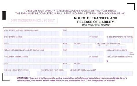 california dmv registration form 138 release of liability dmv reg 138 transfer car title