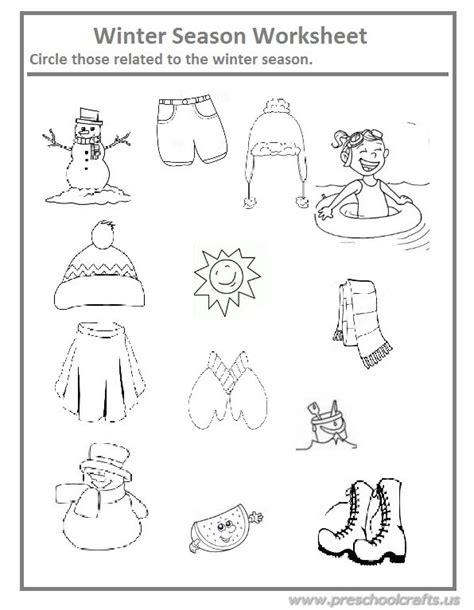 winter season worksheet for preschool and kindergarten preschool crafts