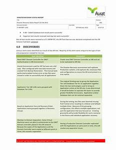 disaster recovery status report 22 feb2012 With disaster recovery testing template