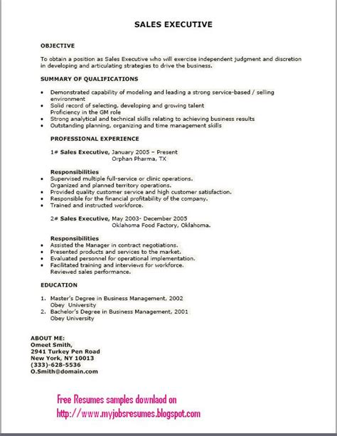 Sle Executive Resumes Formats by Fresh And Free Resume Sles For 26 05 13 02