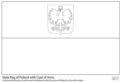 Flag Of Poland With Coat Of Arms Coloring Page