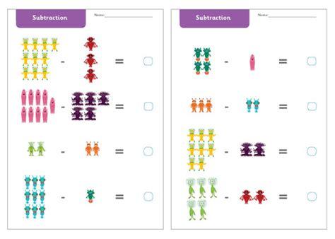 alien subtraction worksheets  images subtraction