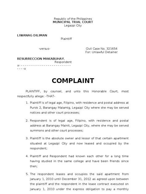 sample complaint for ejectment.doc | Plaintiff