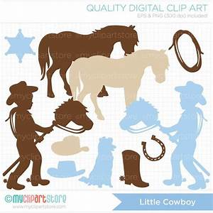 Little Cowboy Silhouette Clip Art / Digital Clipart ...