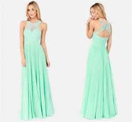 cheap mint green bridesmaid dresses discount charming open back chiffon evening dresses 2015 sale mint green lace maxi