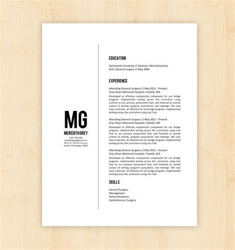 resume template cv template  meredith grey resume
