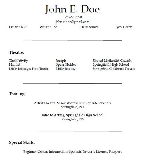 Resume For Acting by Resume Templates Acting Acting Resume Resumetemplates