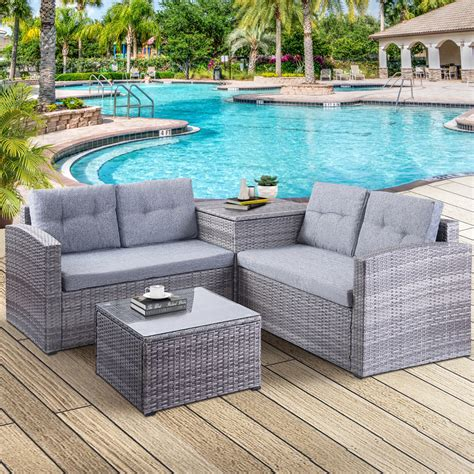 Choose sling chairs to give an island feel to your space, with the added benefit of comfort and durability. Clearance! Wicker Patio Sets, 4 Piece Patio Furniture Sets with Loveseat Sofa, Storage Box ...