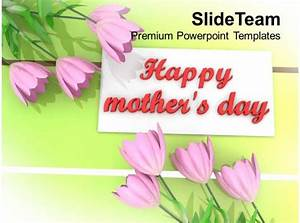 Pink Flowers With Message Happy Mothers Day Powerpoint