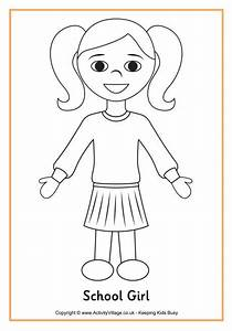 School girl colouring page | Homeschool | Pinterest ...