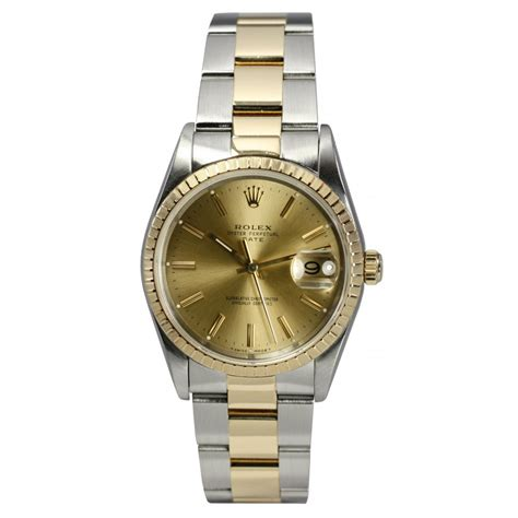 mens pre owned rolex oyster perpetual date  steel gold