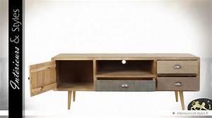 Meuble Tv Vintage : meuble tv style scandinave vintage patine multicolore int rieurs styles ~ Teatrodelosmanantiales.com Idées de Décoration