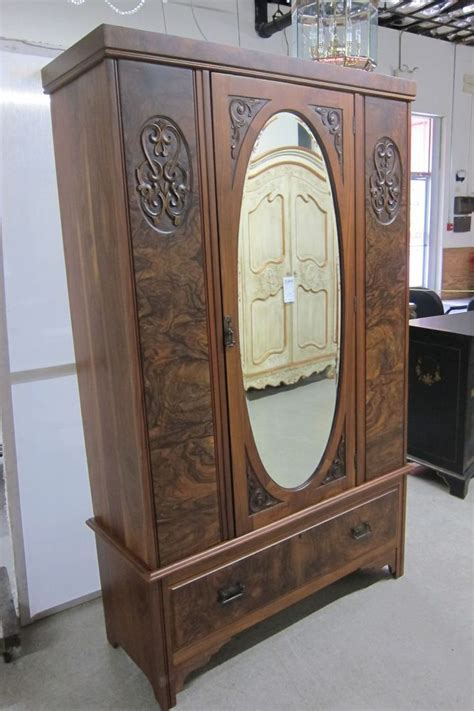 Antique Armoire With Drawers by Details About Wardrobe Antique Carved Burled Walnut