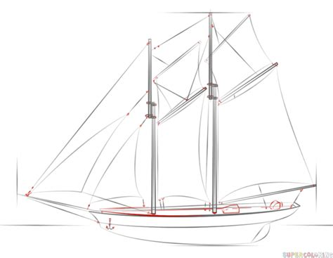How To Draw A Ancient Boat by How To Draw A Sailing Ship Step By Step Drawing Tutorials