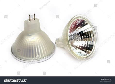 two fluorescent small spot light bulbs at white background