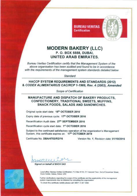 accreditations modern bakery llc