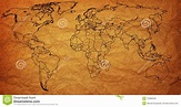 Very Old Political Map Of World Stock Illustration - Image ...