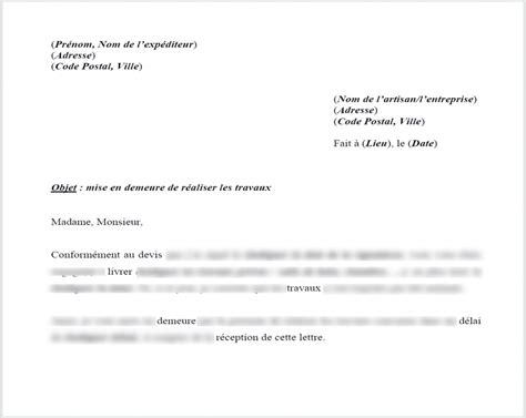 modele lettre mise en demeure gratuite modele lettre mise en demeure effectuer travaux document