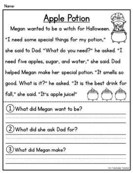halloween reading comprehension halloween reading