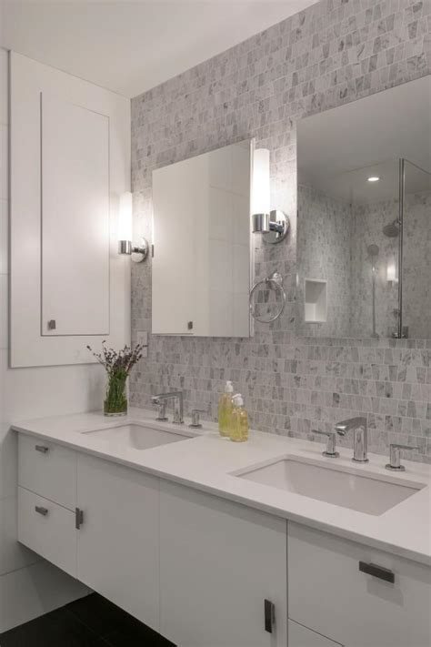 crisp white modern bathroom  mosaic tile accent wall
