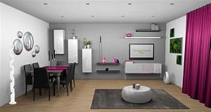 Deco salon mur gris et blanc touche de couleur fushia for Deco salon design blanc