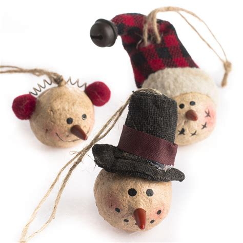 primitive paper clay snowman ornaments christmas and