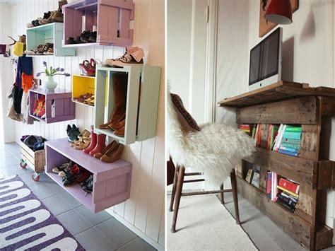 diy deco bureau petit bureau mural en palettes et caisses en bois peintes