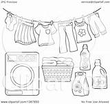 Laundry Washing Basket Clipart Machine Drying Clip Clothesline Coloring Detergent Lineart Visekart Sketch Template sketch template