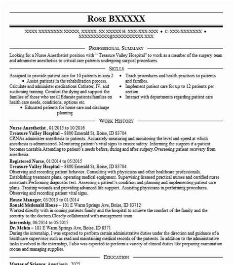Crna Resume by Anesthetist Resume Sle Resumes Misc Livecareer