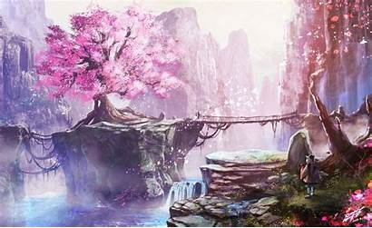 Blossom Cherry Anime Tree Background Wallpapers Backgrounds