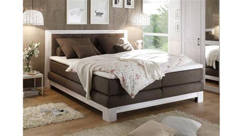 Boxspring Bett Nevada Pinie Weiß Bezug Stone180x200