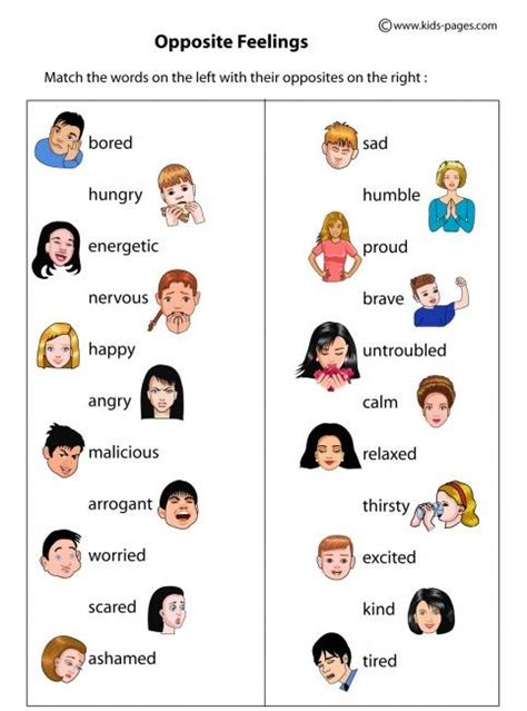 opposite feelings worksheets http www pages